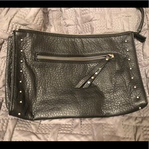 Mossimo black zip clutch purse silver target